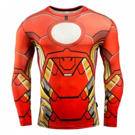 3D Printing Fast-Drying Long-Sleeved Tight-Fitting Male T-shirt - Red + Yellow (XXXL)