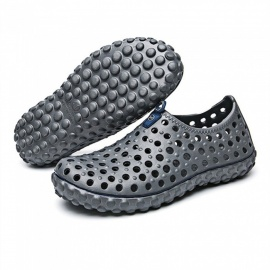 2255 Summer Men's Hollow Out Massage Sandals Shoes - Grey (Size 43)