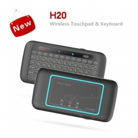 H20 Backlight Full Screen Touchpad Mini 2.4GHz Wireless Keyboard Air Mouse - Black
