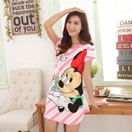Women's Summer Pajamas Short Sleeved Milk Silk Nightdress Lovely Cartoon Home Dress