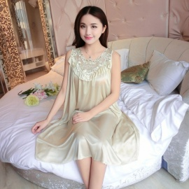 Women's Summer Plus Size Ice Silk Pajamas Dress Nightwear - Champagne