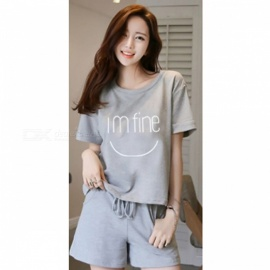 Stripe Pattern Casual Style Milk Silk Summer Short-Sleeve Pajamas Shirt with Shorts for Girls - Grey (M)