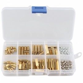 Hengjiaan 120Pcs M3 Male-Female Brass Spacer Standoff Screw Nut Assortment Kit