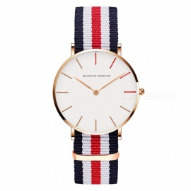 Hannah Martin Unisex Ultra-thin Japanese Movement 30m Waterproof Nylon Strap Wrist Watch - Multicolor