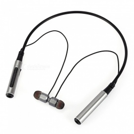 BT-022 4.2 Metal Neckband Stereo Bluetooth Headset, In-Ear Earphone w/ Mic - Silver