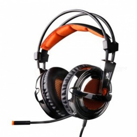 Sades A6 USB 7.1 Surround Sound USB Stereo Gaming Headphone - Black + Orange