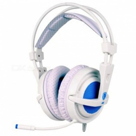 Sades A6 USB 7.1 Surround Sound USB Stereo Gaming Headphone - White + Blue