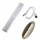 ZHAOYAO USB Rechargeable DC 3-6V 2835 SMD 10 LEDs Infrared Induction LED Light - Warm White (Silver)