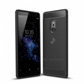 Dayspirit Wire Drawing Carbon Fiber TPU Back Case for Sony Xperia XZ2 - Black