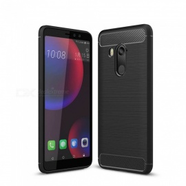 Dayspirit Wire Drawing Carbon Fiber TPU Back Case for HTC U11 Eyes - Black