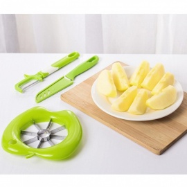 Creative Kitchen Fruit and Vegetable Peeling Remover Peeler + Apple Slicer + Knife Tool Set - Green