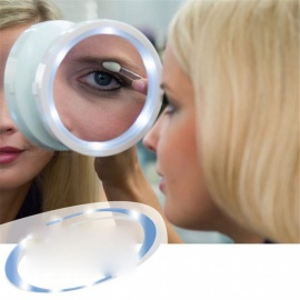Round Shaped Suction Cup Mini 8X Magnification Cosmetic Makeup Mirror with 6-LED Light - White