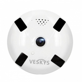 VESKYS 960P 1.3MP 360 Degree Fish Eye Lens Wireless Wi-Fi Full View IP Camera with Infrared Night Vision - US Plug