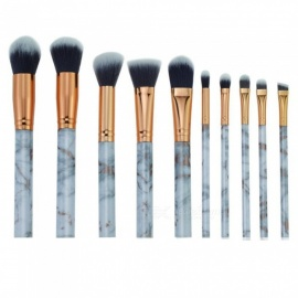 Marbling Pattern 10-in-1 Beauty Makeup Cosmetic Brushes Tool Set - Golden + Creamy White