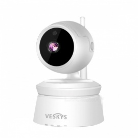 VESKYS 2.0MP 1080P HD Wireless WiFi IP Camera w/ Infrared Night Vision, Two-way Voice Intercom - White (EU Plug)