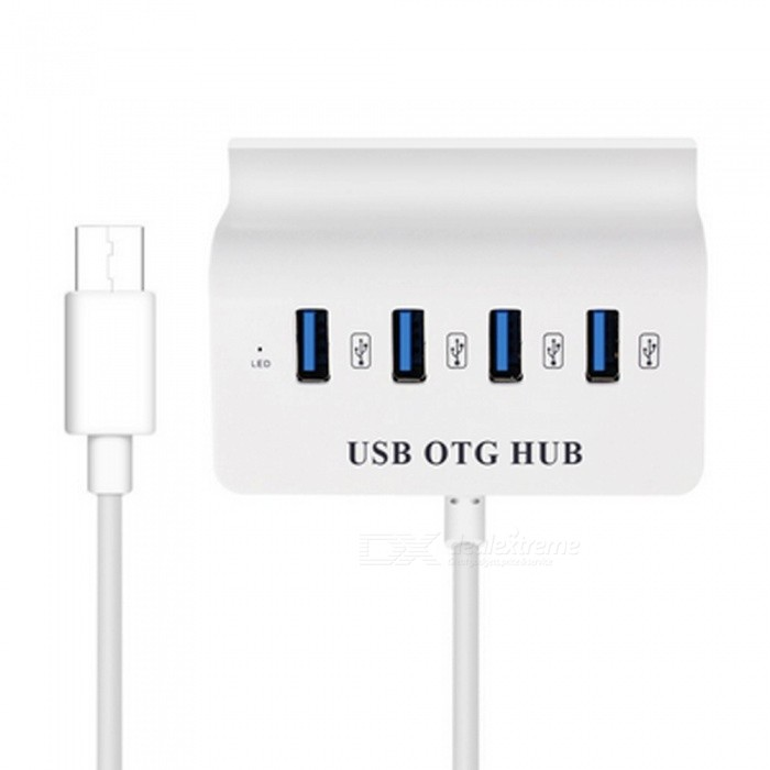 4-Port USB 2.0 / Type-C USB-C OTG HUB with Phone Tablet PC Support Holder for Phone