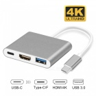 Measy USB Type-C Male to HDMI 4K, USB 3.0, USB Type-C Female Power Adapter for Macbook Pro - Gray