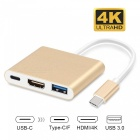 Measy USB Type-C Male to HDMI 4K, USB 3.0, USB Type-C Female Power Adapter for Macbook Pro - Gold