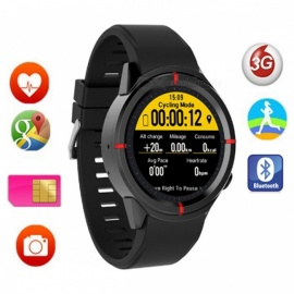 GW12 smart watch w / sykemittari, tuki GPS, SIM-kortti - musta
