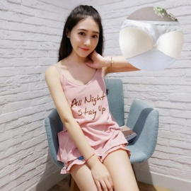 Cute Cartoon Milk Silk Summer Suspender Pajamas w/ Bra and Shorts for Home Wearing - Letter Pattern (XXL)