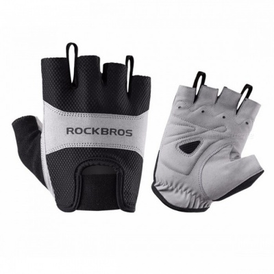 ROCKBROS Outdoor Cycling Unisex Polyester Half Short Finger Bike Gloves - Black (M / Pair)