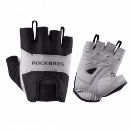 ROCKBROS Outdoor Cycling Unisex Polyester Half Short Finger Bike Gloves - Black (L / Pair)