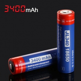 Jetbeam 18650 JL340 3400mAh 3.7V Protected PCB Li-ion Lithium Rechargeable Battery - Blue + Red
