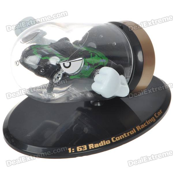 Creative Bullet Style Storage Mini Rechargeable R/C Model Racing Car - Green + Black (27MHz/2*AAA)