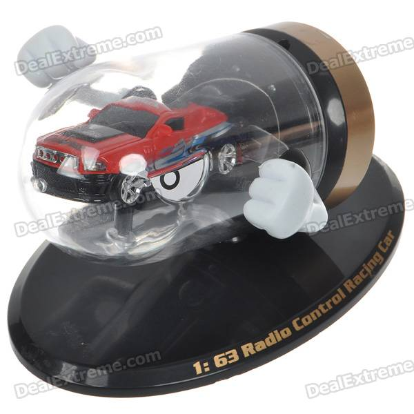 Creative Bullet Style Storage Mini Rechargeable R/C Model Racing Car - Red + Black (49MHz/2*AAA)