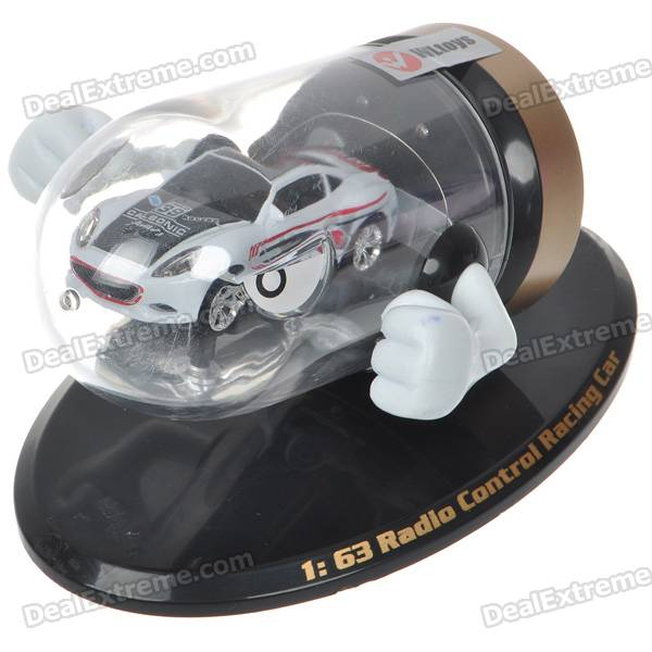Creative Bullet Style Storage Mini Rechargeable R/C Model Racing Car - White + Black (27MHz/2*AAA)