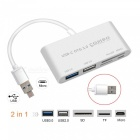 Measy USB 3.0 to USB 3.0, USB 2.0 Micro USB OTG Hub, TF SD Card Reader for Macbook PC Android Tablet Phone - Silver