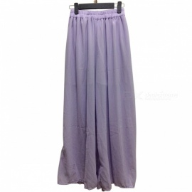 Ladies Spring and Summer Polyester High-Waisted Wide-Leg Trousers Bohemian Beach Holiday Pants - Purple