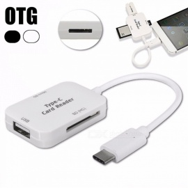 Measy 3 In 1 USB-C Hub Splitter w/ OTG, TF / SD Card Reader, USB 3.1 Type-C Hub Combo Multi Spliter for MacBook Pro - White