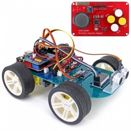 OPEN-SMART 4WD Wireless JoyStick Remote Control Smart Car Kit with Tutorial for Arduino UNO R3 Nano - Black + Blue
