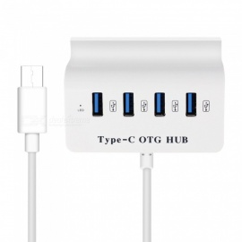 measur 4-port USB-C HUB splitter, OTG høyhastighets type-c hub med telefonstand for Macbook bærbar PC-telefon google