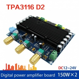 Placa de amplificador de audio digital ESAMACT TPA3116 2.0, amplificador de graves de TPA3116D2 REBLE 150wx2