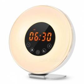 LED Digital Alarm Clock Sunrise Wake Up Light Simulation Bedside Lamp Night Light Snooze/Sunset FM Radio Memory Function