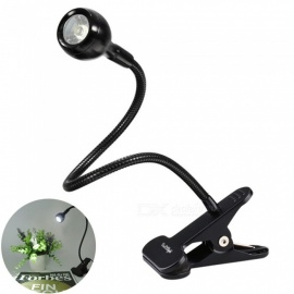YouOKLight Flexible Goose Neck Adjustable 1W LED Clip Light, US Plug Clip-on Desk Lamp for Bed Computer and Music Stand