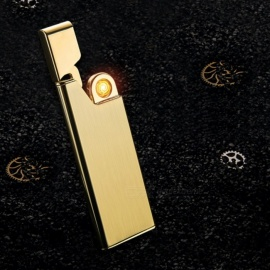 HONEST USB Rechargeable Windproof Coil Slim Lighter Set with USB Charging Cable and Gift Box - Golden
