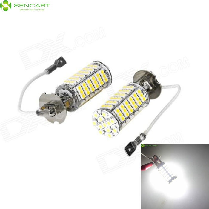 H3 5W 460-Lumen 6500K 102x3528 SMD LED Car White Light Bulb (Pair/DC 12V) 9006 6w 190 lumen 18x5050 smd led car white light bulb dc 12v