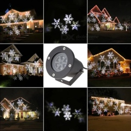 4W 6-LED Neutral White Snowflake Projector Spot Light for Christmas Party Stage Holidays - EU Plug