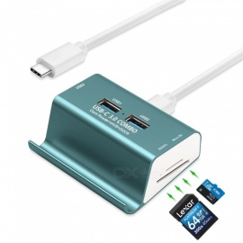 Measy T-698C USB Type C to 3 Ports USB 3.0 OTG Hub + SD, TF Card Reader + Phone Holder - Blue