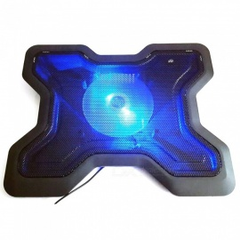 MAIKOU 14inch Silent Blue Light LED USB Port Cooling Stand Pad Cooler - Black