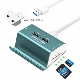 Measy 3 Ports USB 3.0 + Micro USB OTG Hub Multi Splitter with SD TF Slot, Holder, 1m Cable for Macbook PC Laptop Phone - Blue