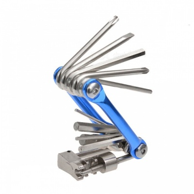 ROCKBROS Mini Pocket Folding Repair Tool, 11 in 1 Bicycle Mountain Road Bike Tool Set - Blue