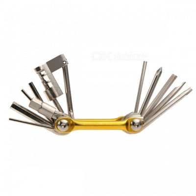 ROCKBROS Mini Pocket Folding Repair Tool, 11 in 1 Bicycle Mountain Road Bike Tool Set - Golden