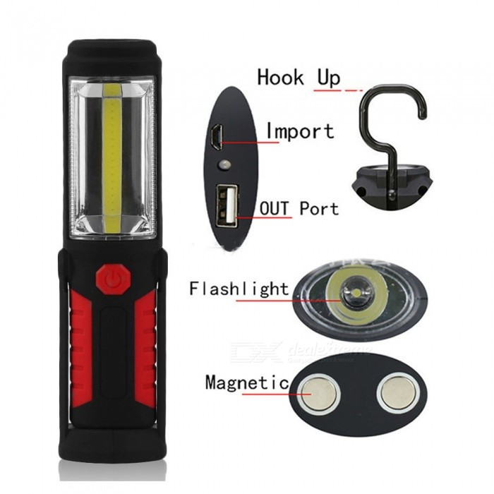 ZHAOYAO Professional Work LED Flashlight Torch�� Inspection Light with 2 Strong Magnets for Auto Repair - Red