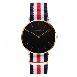 Hannah Martin 1230-HR Unisex Ultra-thin Japanese Movement 30m Waterproof Nylon Strap Wrist Watch - Multicolor + Golden