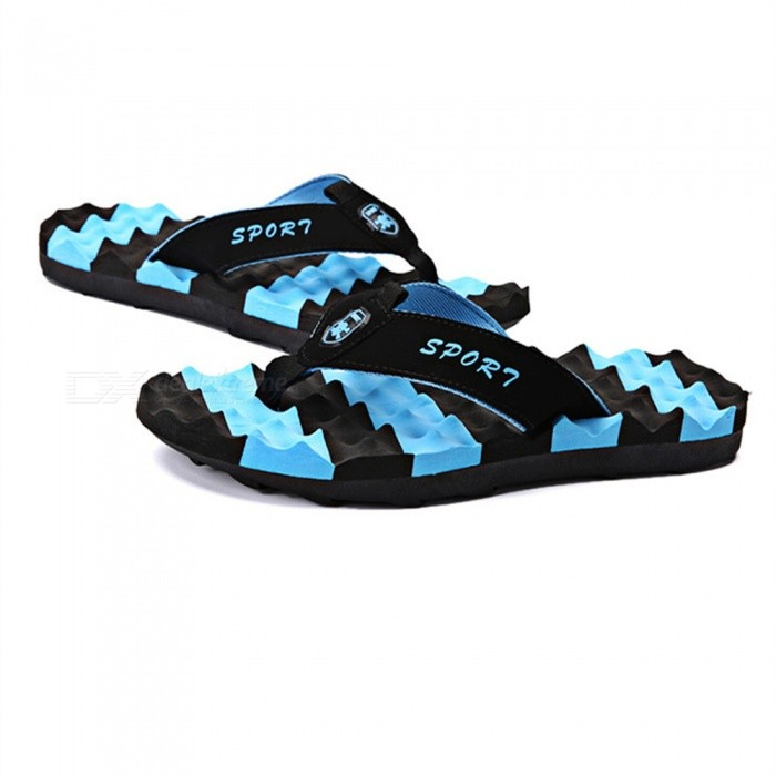 665 Unisex Summer Anti-slip Sandal Flip-Flops Beach Slippers - Blue (42)