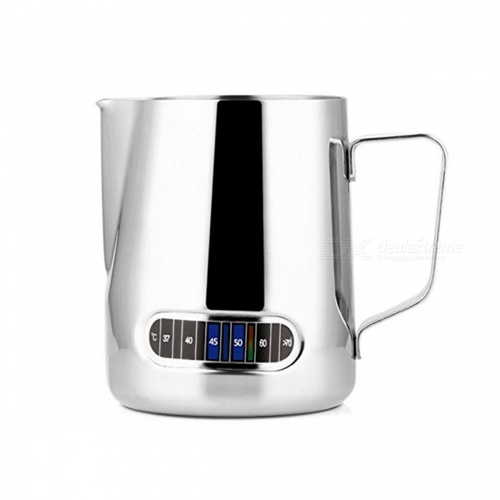 Stainless Steel Milk Frothing Jug Barista Coffee Pitcher Cup with Thermometer - Silver (600ml)